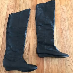 Chinese Laundry Over the Knee Leather Wedge Boots